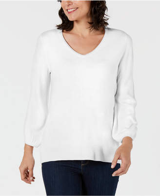 Karen Scott V-Neck Puff-Sleeve Sweater