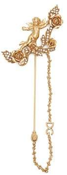 Dolce & Gabbana Crystal Embellished Cherub Brooch - Womens - Gold