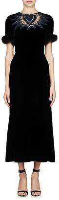 Fendi Women's Embellished Velvet Dress