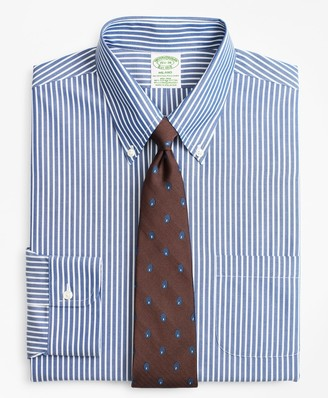 Brooks Brothers Stretch Milano Slim-Fit Dress Shirt, Non-Iron Ground Stripe