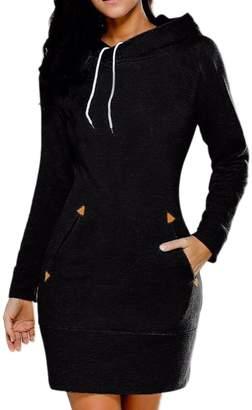 Lettre d'amour Women Long Sleeve Cotton Slim Fit Midi Hoodie Dress With Pocket Tunic Sweatshirt M