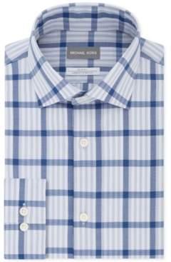 Michael Kors Men's Slim-Fit Non-Iron Airsoft Performance Stretch Blue Check Dress Shirt