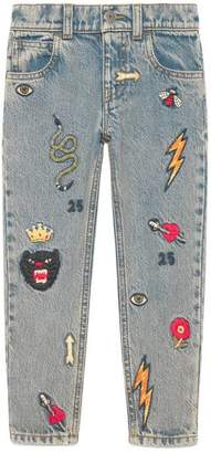 Gucci Children's embroidered denim pant