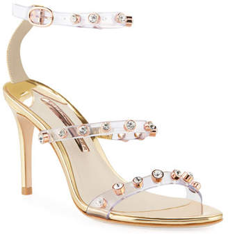 Sophia Webster Rosalind Gem-Stud Mid-Heel See-Through Vinyl & Leather Sandals