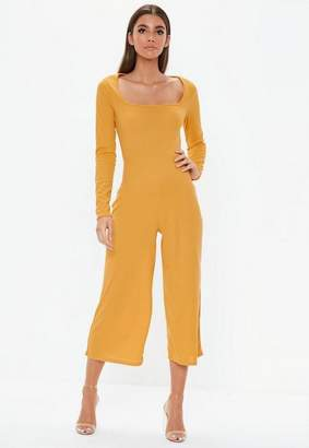 Missguided Mustard Square Neck Ribbed Culotte Romper