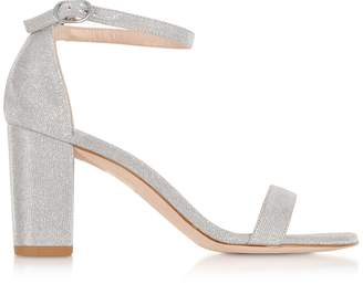 Stuart Weitzman Nearlynude Silver Lurex Block Heel Sandals