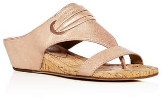 Donald J Pliner Women's Dionne Leather Demi Wedge Thong Sandals