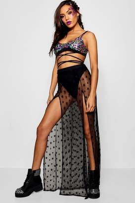 boohoo Star Mesh Split Side Overlay Maxi Skirt
