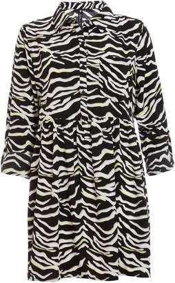 6ae70470024a Dorothy Perkins Womens  Quiz Black Zebra Print Shirt Dress