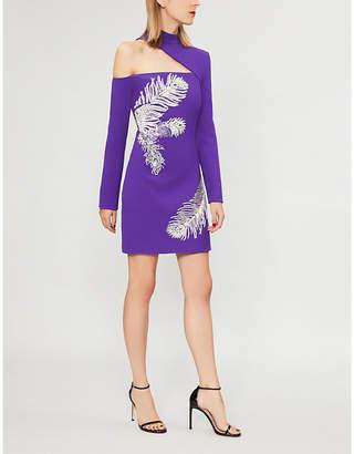 David Koma Feather-print wool-blend mini dress