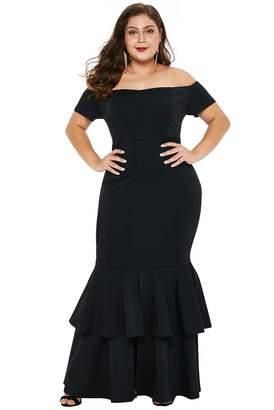 d19821c58e9 FUSENFENG Womens Plus Size Off Shoulder Ruffle Mermaid Evening Party Maxi  Dress