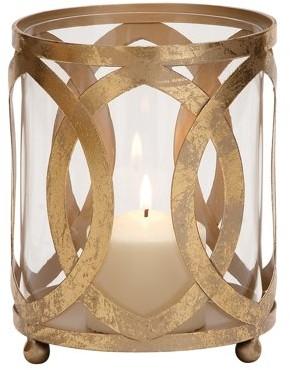 Benzara Classy Styled Metal Glass Candle Lantern