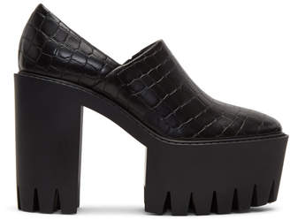 Stella McCartney Black Croc Platform Heels