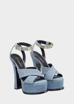 Versace Denim High Heel Sandals
