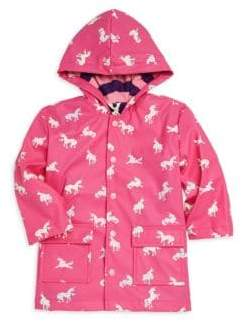 Hatley Little Girl's& Girl's Changing Color Unicorn Raincoat
