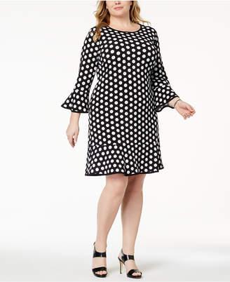 MICHAEL Michael Kors Size Dot-Print Bell-Sleeve Dress