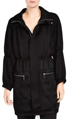 Halston Zip-Detail Drawstring Coat