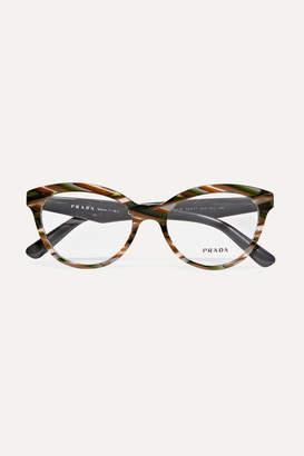 Prada Round-frame Marbled Acetate Optical Glasses - Brown