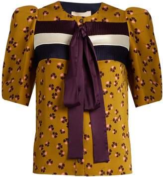 Roksanda Aslin neck-tie parsley-print silk blouse