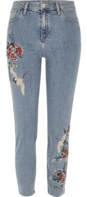 River IslandRiver Island Womens Blue wash embroidered Lori high waisted jeans