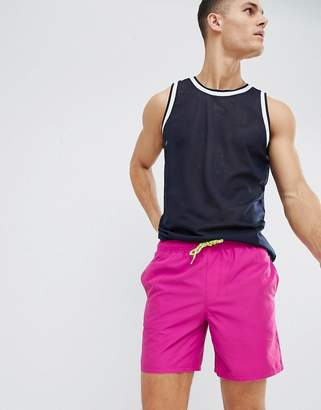 Asos DESIGN Swim Short In Purple With Neon Drawcord In Mid Length