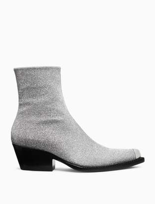 Calvin Klein western ankle boot in silver diamond dust leather with silver toe cap