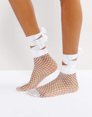 Asos Design Fishnet Bow Strap Ankle Socks