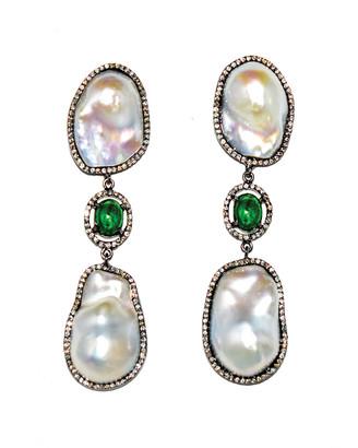 Arthur Marder Fine Jewelry Silver 5.08 Ct. Tw. Diamond, Emerald, & 14-16Mm Pearl Drop Earrings