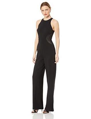 Halston Women's Sleeveless High-Neck Jumpsuit with Strip Applique, 4