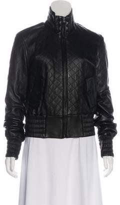 St. John Leather Zip-Up Jacket