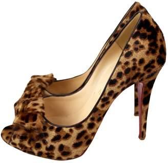 Christian Louboutin Lady Peep Brown Pony-style calfskin Heels