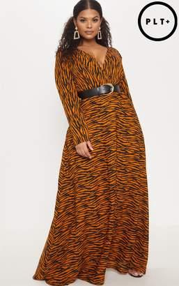 PrettyLittleThing Plus Rust Tiger Print Satin Long Sleeve Maxi Dress