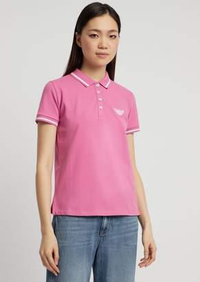 Emporio Armani Cotton Pique Polo Shirt With Contrasting Details
