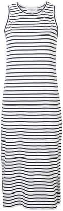 Derek Lam 10 Crosby Striped Tank Dress with Placket Hem Detail