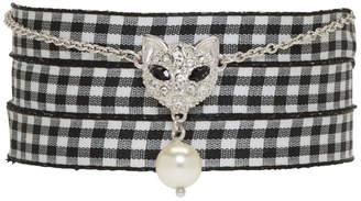Miu Miu Silver Cat Pearl Charm Bracelet