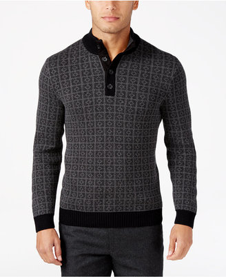 Tasso Elba Men's Big and Tall Jacquard Four-Button Geometric Sweater, Only at Macy's $95 thestylecure.com