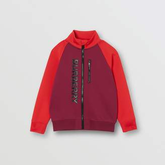 Burberry Childrens Logo Print Two-tone Stretch Jersey Track Top