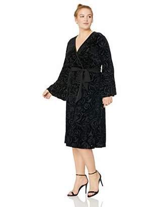 Calvin Klein Women's Plus Size Long Sleeve Faux Wrap Velvet Midi Dress