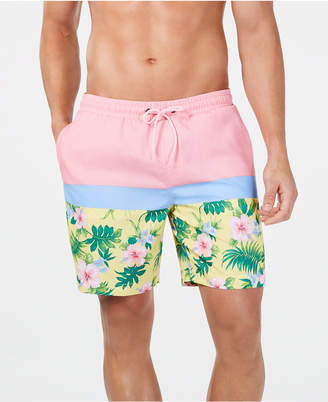 "Club Room Men Quick-Dry Performance Colorblocked Floral-Print 7"" Swim Trunks"