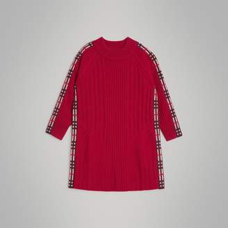 Burberry Childrens Check Detail Wool Cashmere Dress