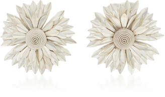 Rebecca de Ravenel Metal Petal Flower Clip Earrings