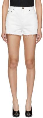 Saint Laurent White Denim Shorts