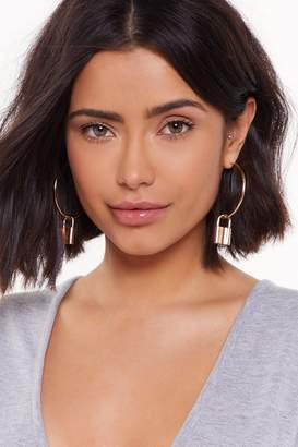 Nasty Gal Locked Out of Heaven Padlock Hoop Earrings