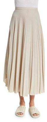 Helmut Lang Pleated Chiffon High-Waist Midi Skirt, Oyster $425 thestylecure.com