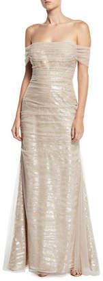 Rickie Freeman For Teri Jon Off-the-Shoulder Tulle Gown w/ Sequin Embroidery