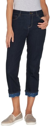 Logo By Lori Goldstein LOGO by Lori Goldstein Straight Crop Refined Jeans with Lace Cuff