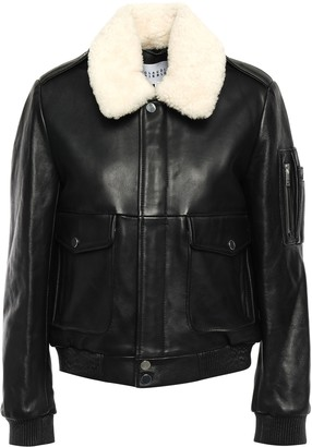 Claudie Pierlot Captain Shearling-trimmed Leather Bomber Jacket