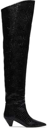 ATTICO black crocodile print 45 leather over-the-knee boots
