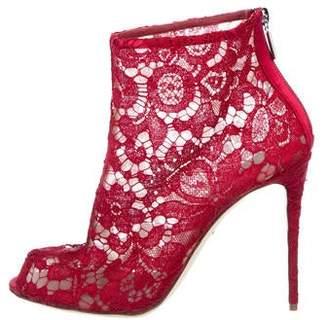 Dolce & Gabbana Lace Peep-Toe Booties