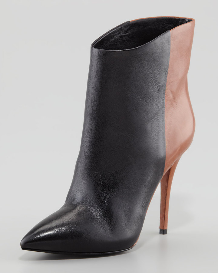 Brian Atwood Djuna Two-Tone Leather Bootie, Black/Walnut